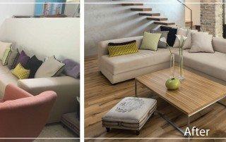 לפני ואחרי- פתיחה של חלל הבית