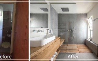 תכנון חדר רחצה לפני ואחרי