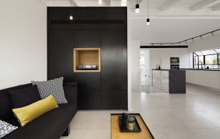 עיצוב פנים לדופלקס בתל אביב מבט מהסלון למטבח