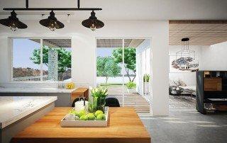 מבט מהמטבח לגינה