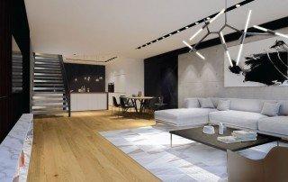 תכנון בית יוקרה מבט אל פנים החלל המרכזי