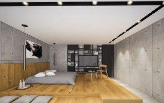 תכנון בית פרטי מבט אל חדר השינה