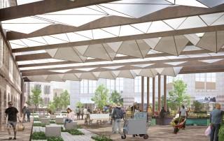 תכנון כיכר קהילתית- מבט ביום שוק איכרים