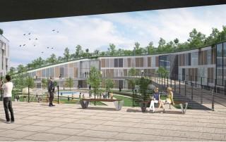 מבט אל המבנה הבוקע מהקרקע תכנון מבני ציבור