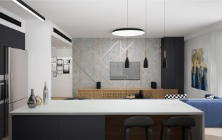 עיצוב דירת קבלן מבט מהמטבח לסלון