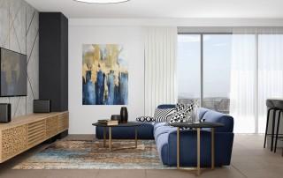 עיצוב דירת קבלן מבט מהכניסה לסלון
