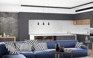 תכנון דירת קבלן מבט מהסלון למטבח