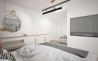 תכנון דירת קבלן עיצוב סוויטת הורים