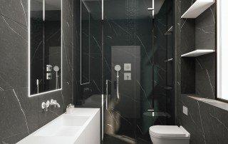 עיצוב חדר רחצה הורים שחור