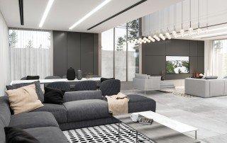 עיצוב הסלון והחלל המרכזי
